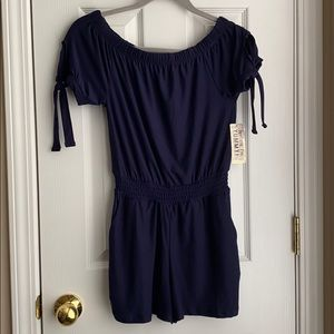 Dark Navy Off the Shoulder Romper
